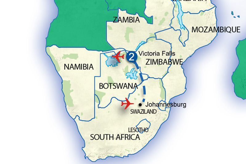 Map Of Africa Showing Zimbabwe.Victoria Falls Zimbabwe Extension