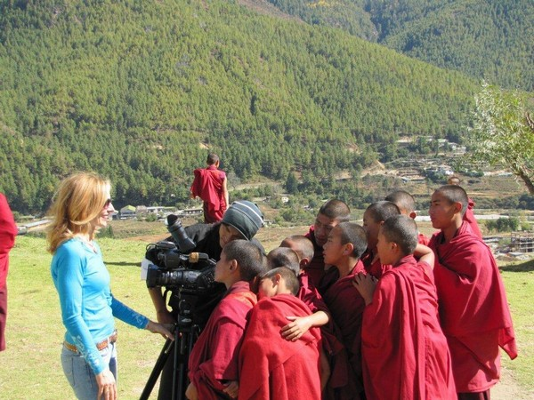 Showing the young monks themselves on video