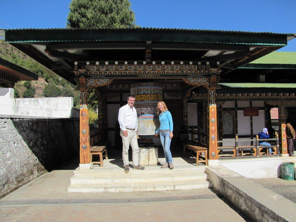 At the prayer wheel