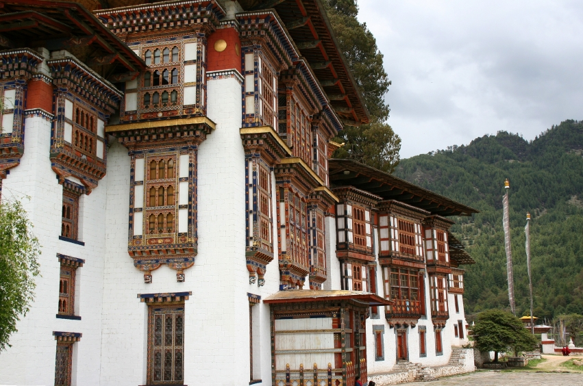 Traditional architecture of Kurjey Lhakhang Buddhist Monastery, Himalayan valley of Bumthang, Bhutan