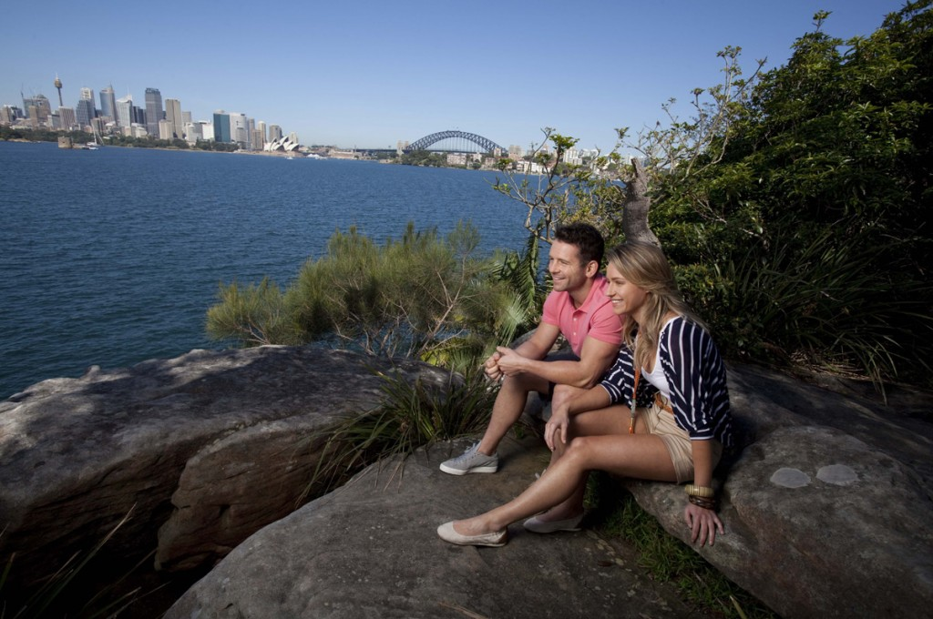 Couple enjoys the Harbour walk at Cremorne Point, Sydney | Photo CreditJames Horan; Destination NSW