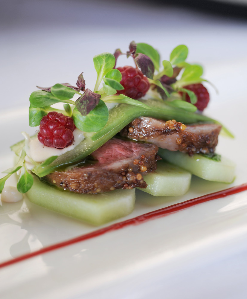 BBQ Wagyu beef with Honeydew in a Raspberry Vinaigrette | Photo Credit: qualia
