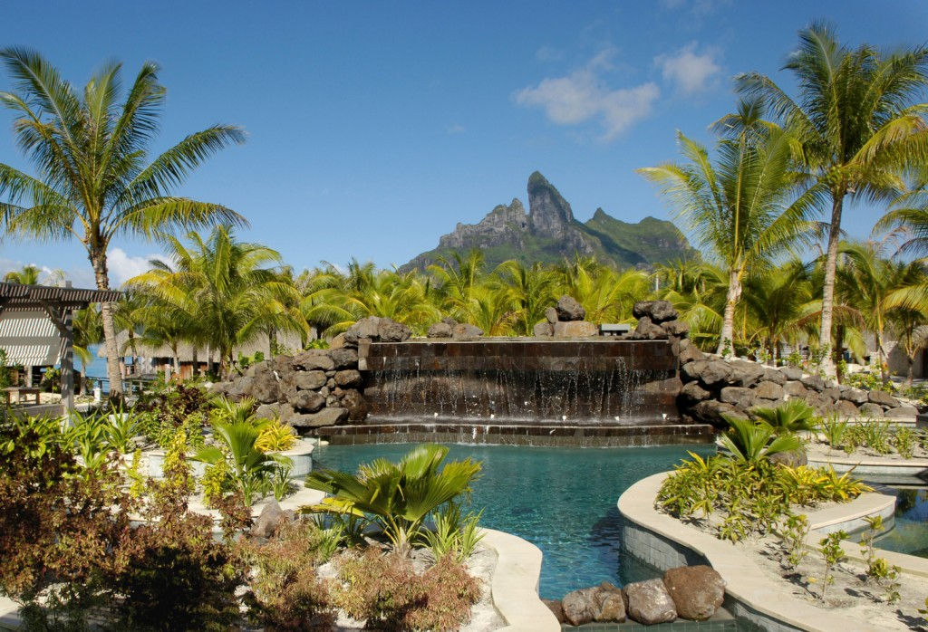 Zen Pool with view of waterfall and Mt Otemanu | Photo Credit: St. Regis Bora Bora