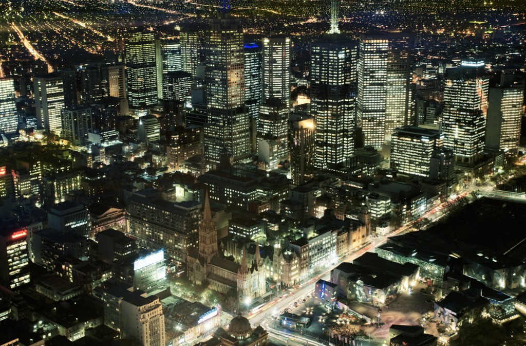 View of Melbourne at night from Eureka Tower | Photo Credit: Tourism Victoria