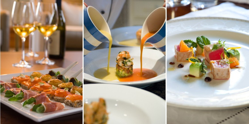 Photos: Canapés, Two soups, Tuna appetizer | Image Credit: Otahuna Lodge