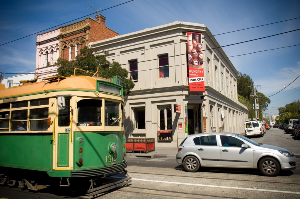 Tram outside Ay Oriental Tea House on Chapel St.  | Photo Credit: Tourism Victoria