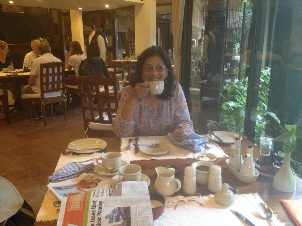 Enjoying Tea at Dwarika Hotels