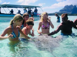 Swimming with stingrays in Tahiti